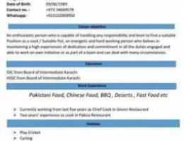looking for Chef job