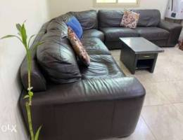 genuine leather sofa King size bed with ma...